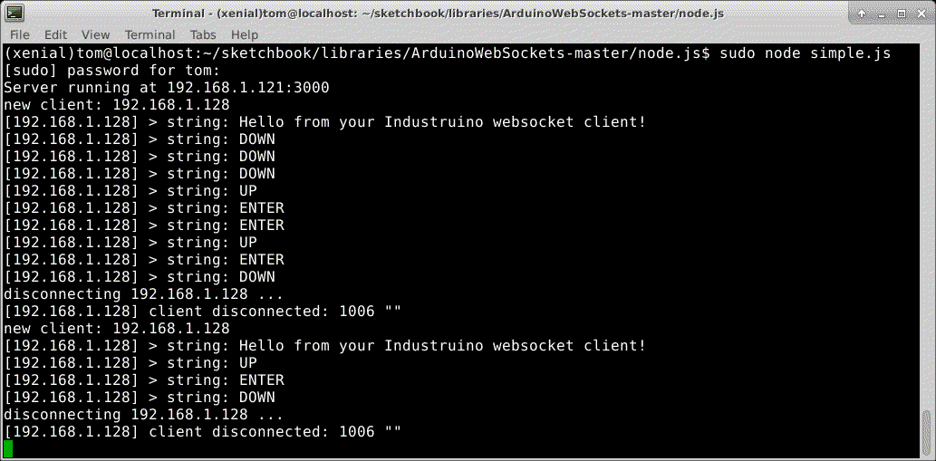 WebSocket on Industruino | Industruino